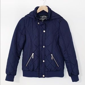 QUILTED JACKET Navy With Gold Zipper/Snaps
